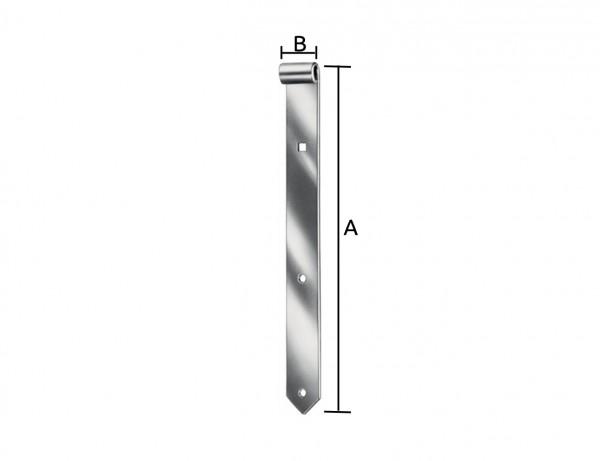 Schwere Ladenbänder | 16 mm Dorn | 600 x 45 x 6 mm | verzinkt