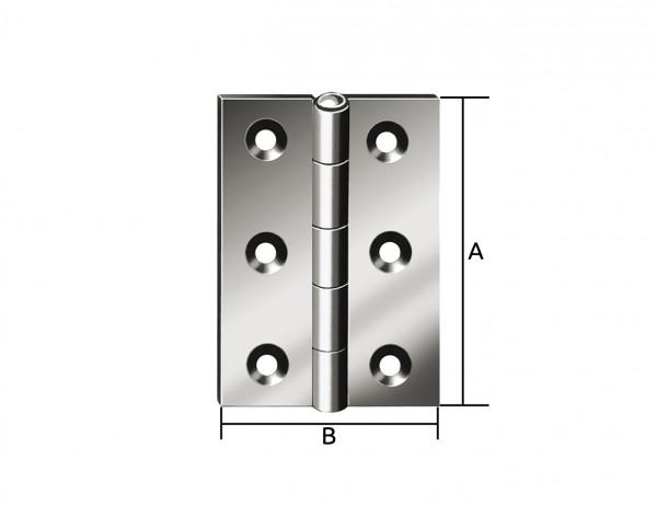Halbbreites Scharnier | 60 x 46 mm | verzinkt mit MS-Stift