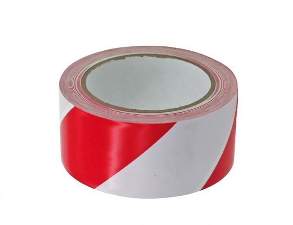Warnmarkierungsband PVC selbstklebend   60 mm x 66 m   rot/weiss