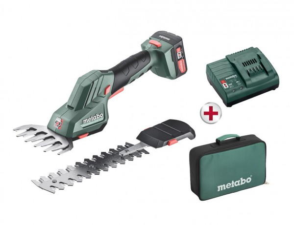 Akku-Strauch- und Grasschere PowerMaxx SGS 12 Q | mit 2 Messern, Akku und Ladegerät in Tasche