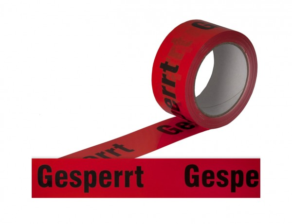 "Warn-Klebeband ""Gesperrt"" | 50 mm x 66 m | signal-rot"
