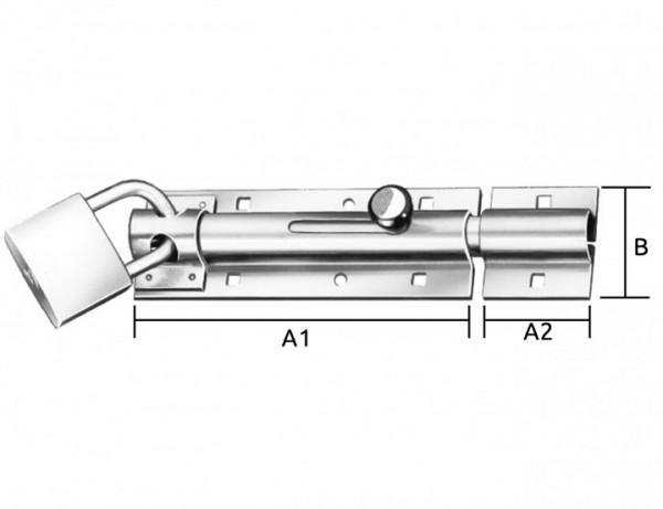Bolzen-Türschlossriegel mit Schlaufe | 130 x 43 x 2,5 mm | verzinkt