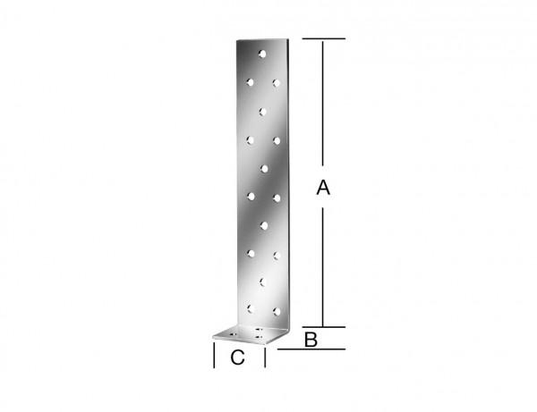 Beton-Flachstahlanker | 300 x 40 x 40 x 2 mm | verzinkt