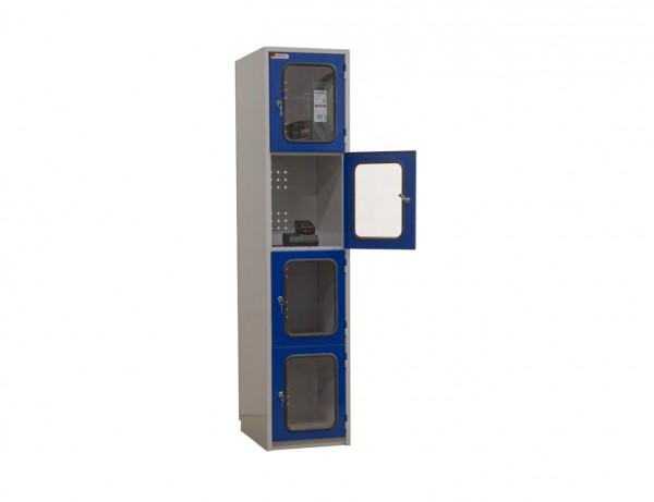 Akku-Wertfachschrank mit 4 abschließbaren Abteilen