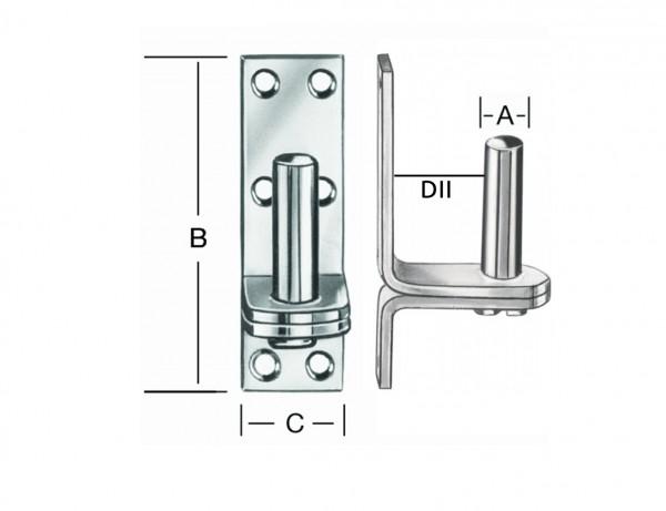 Platten-Kloben | 13 mm Dorn | Abstand DII 23 mm | verzinkt