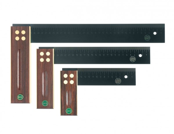 ECE Präzisions Präzisionswinkel | Tischlerwinkel Typ 409 | Griff aus Palisanderholz | 150-350 mm
