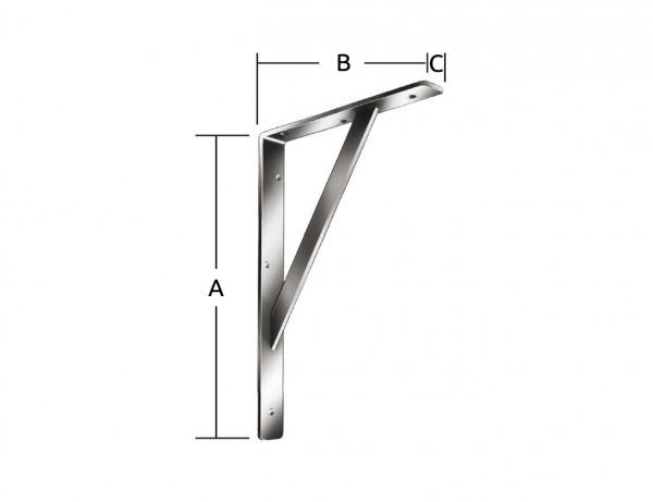 Stegkonsole | 500 x 330 x 30 mm | 200 kg | weiß kunststoffbeschichtet