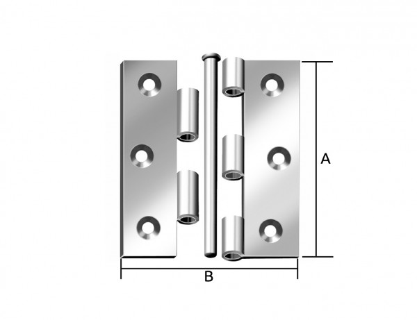 Starkes Scharnier, halbbreit | 75 x 50 mm | verzinkt mit durchgedrücktem Gewerbe und MS-Stift