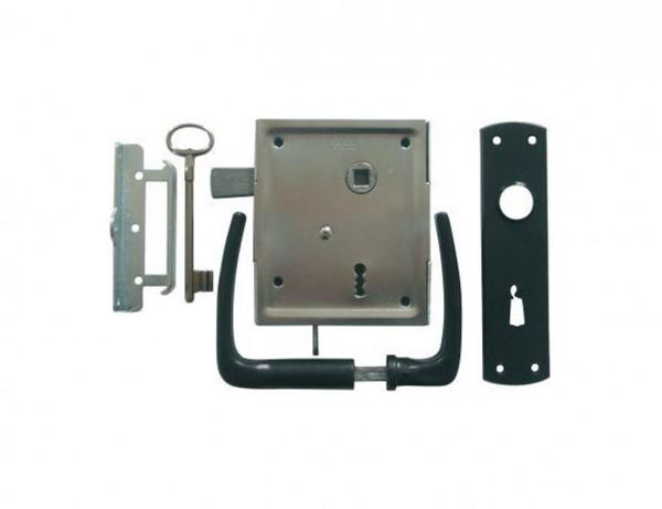 Universal-Kastenschloss mit hebender Falle | BB oder PZ | Set mit Drückergarnitur und Schließblech