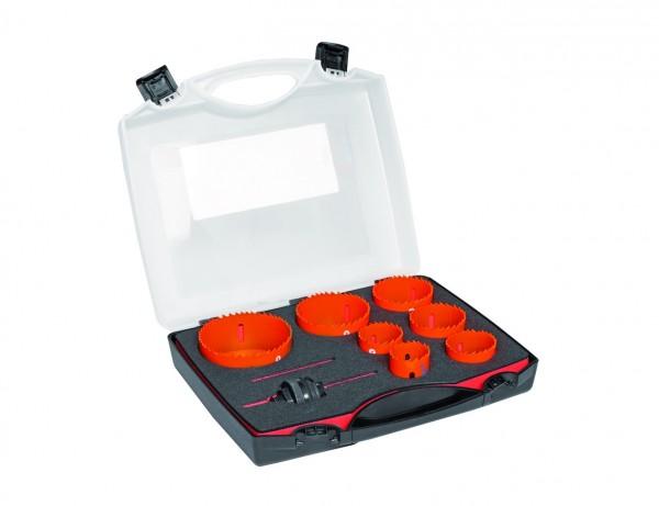 Bimetall Sandflex Lochsägen-Set   Ø 35-83 mm inkl. Aufnahmeschaft   im Koffer