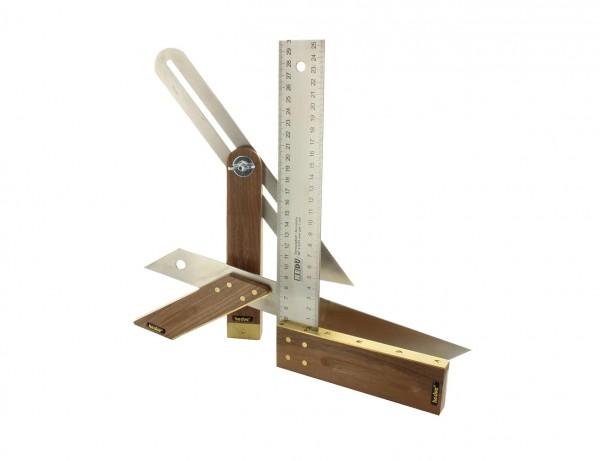 Tischler-Set A031 bestehend aus Winkel, Schmiege und Gehrmaß