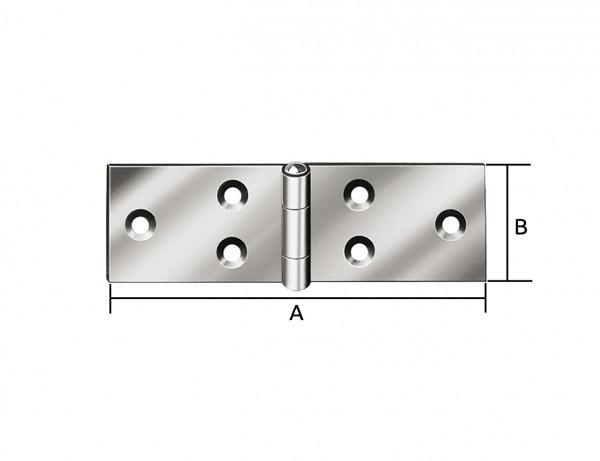 Breites Tischband | 200 x 44 mm | verzinkt mit MS-Stift