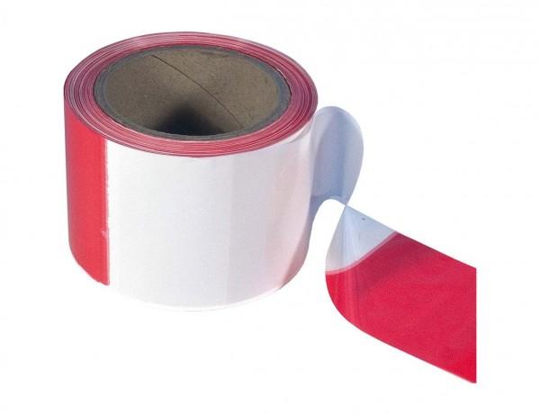 Folien-Absperrband Rot/Weiß | 80 mm x 100 m | Polyethylen (Flatterband)