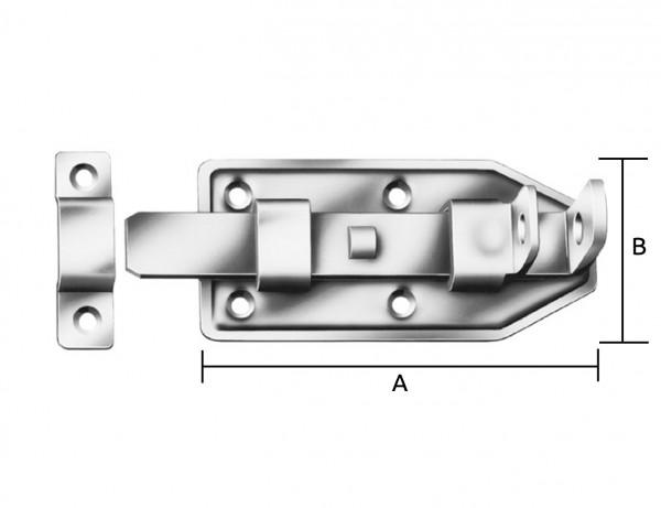 Türschlossriegel mit Schlaufe | gerade | 140 x 56 x 2 mm | verzinkt
