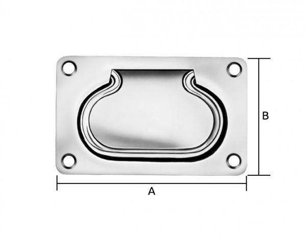 Einlass-Griff (Kistengriff) | 100 x 80 mm | verzinkt