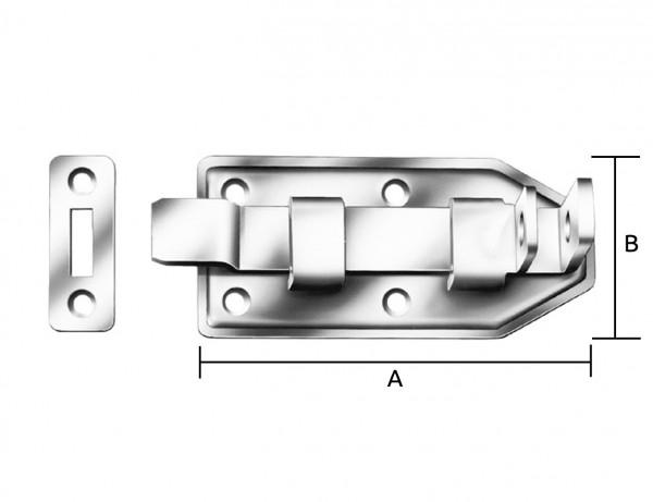 Türschlossriegel mit Schlaufe | gekröpft | 120 x 56 x 1,5 mm | verzinkt