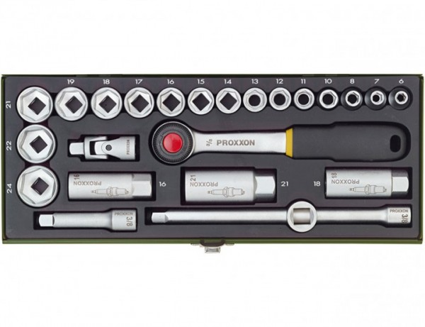 """Kompakt-Steckschlüsselsatz mit 3/8""""-Ratsche, 24-teilig."""