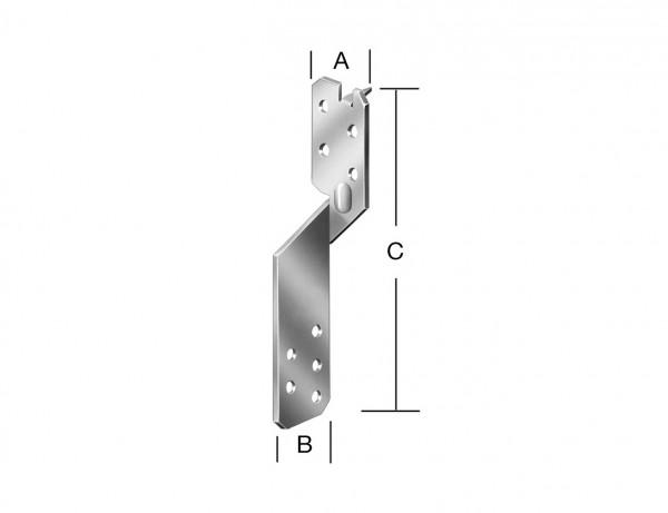 Sparrenpfetten-Anker | 36 x 36 x 210 mm | verzinkt