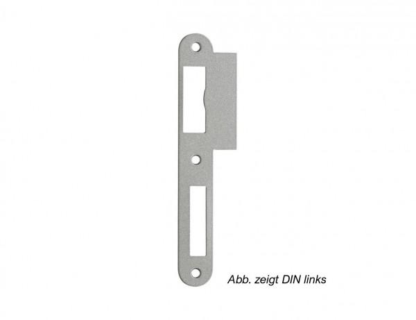 Lappenschließblech für Zimmertüren | 24/40 x 170 mm Stahl, silber lackiert | rund
